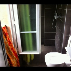 Hotel Bathroom and French Doors