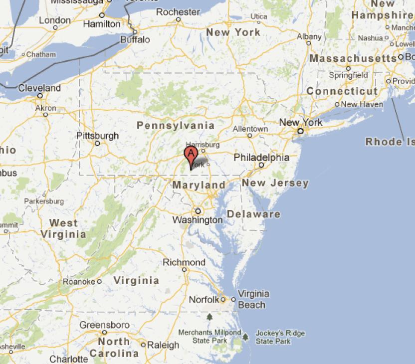 Gettysburg - Gettysburg pa in us map
