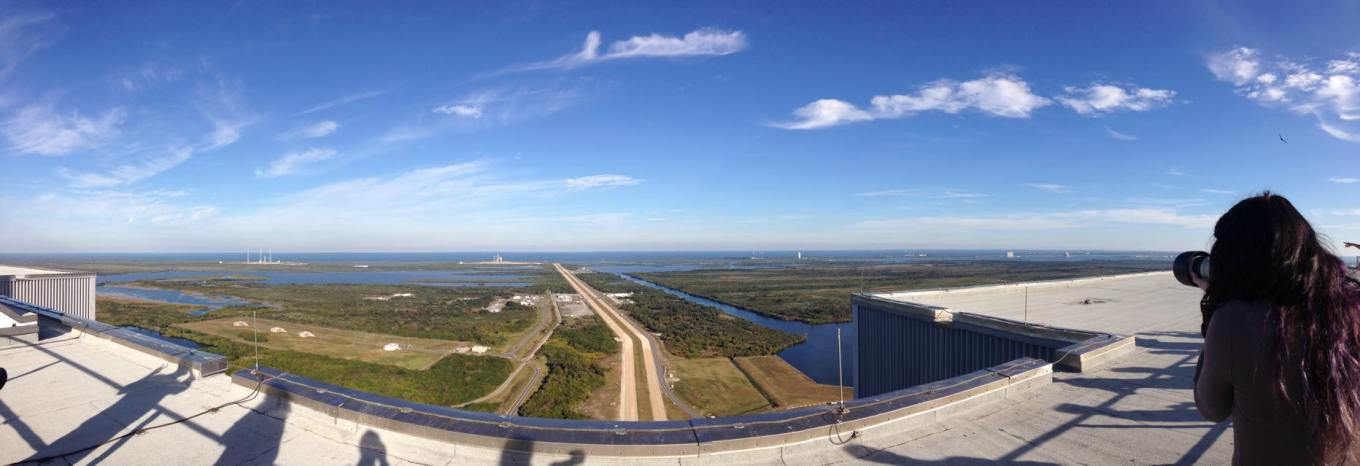 On top of the Vehicle Assembly Building